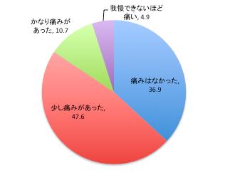 矯正の痛みの程度を示す円グラフ