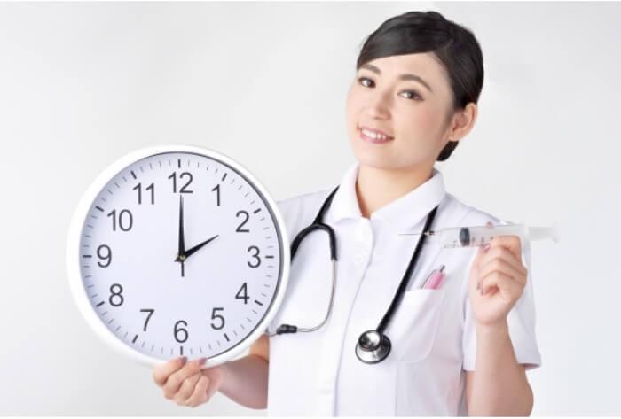 顎間ゴムを使用する時間を示す時計を持った女性